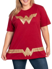 DC Comics Wonder Woman Women's Plus Size Costume T-Shirt Red Gold