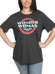 Womens Plus Size Wonder Woman Logo Charcoal Short Sleeve T-Shirt
