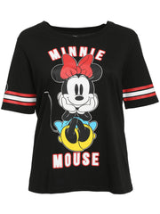 Juniors Plus Minnie Mouse Shirt Athletic Sleeves Front Back Blue Dress Red Bow