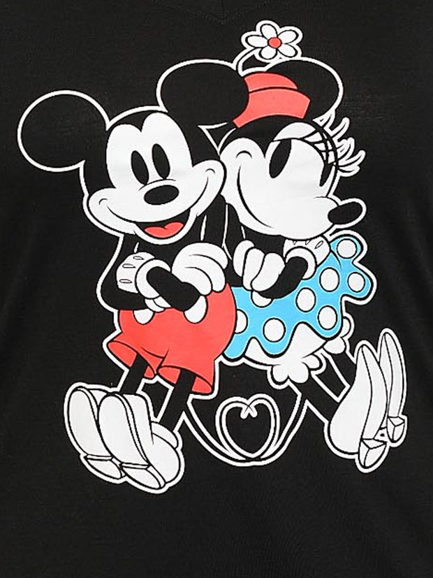 Plus Size Women's Mickey & Minnie Mouse Classic V-Neck T-Shirt Black (Size 1X)