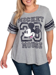 Juniors Plus Size Mickey Mouse Athletic T-Shirt Gray (Size 1X Only)