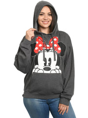 Disney Women's Plus Size Disney Minnie Mouse Red Bow Hoodie Sweatshirt Charcoal