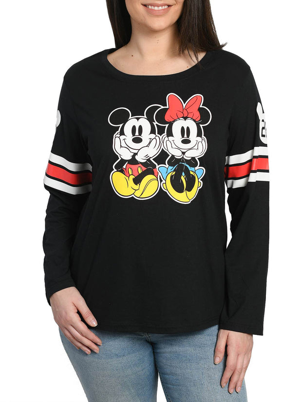 Women Juniors Plus Size Mickey & Minnie Mouse Long Sleeve T-Shirt Black