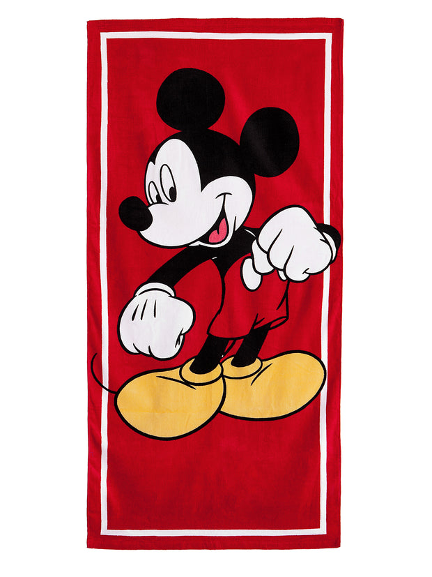 Kids Mickey Mouse Beach Towel 58x28 Red
