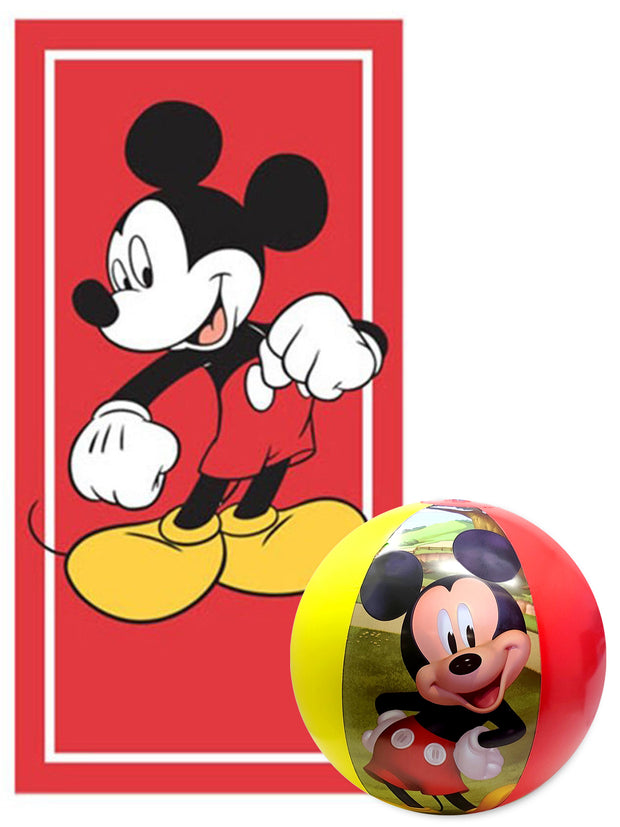 Mickey Mouse Kids Beach Towel 58x28 Red & Mickey Beach Ball 2Pc Pool Set