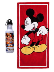 Mickey Mouse Beach Towel 58x28 & Mickey and Friends Water Bottle 2-Piece Set
