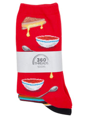 Women's Grilled Cheese & Stripes Novelty Socks Size 9-11 (2-PAIRS)