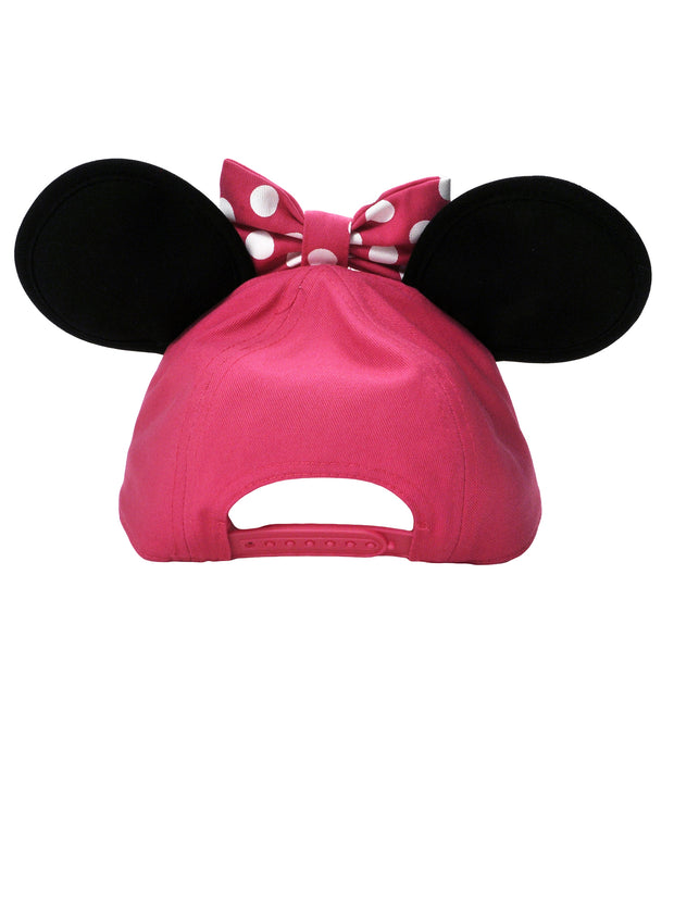Disney Girls Minnie Mouse Pink Hat with Ears & Charm Bracelet