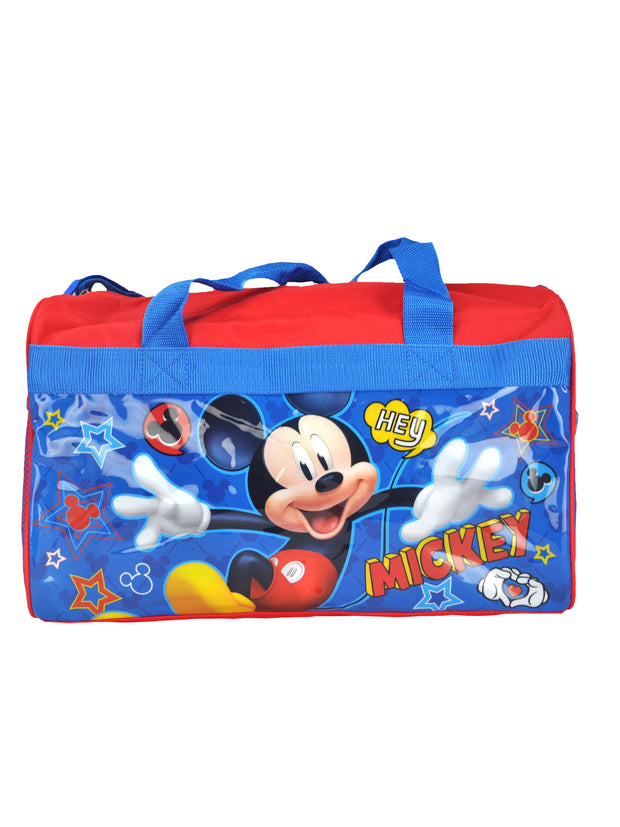 "Mickey Mouse Red Duffel Bag 17"" w/ Disney Kids All-Over Print Neck Gaiter"