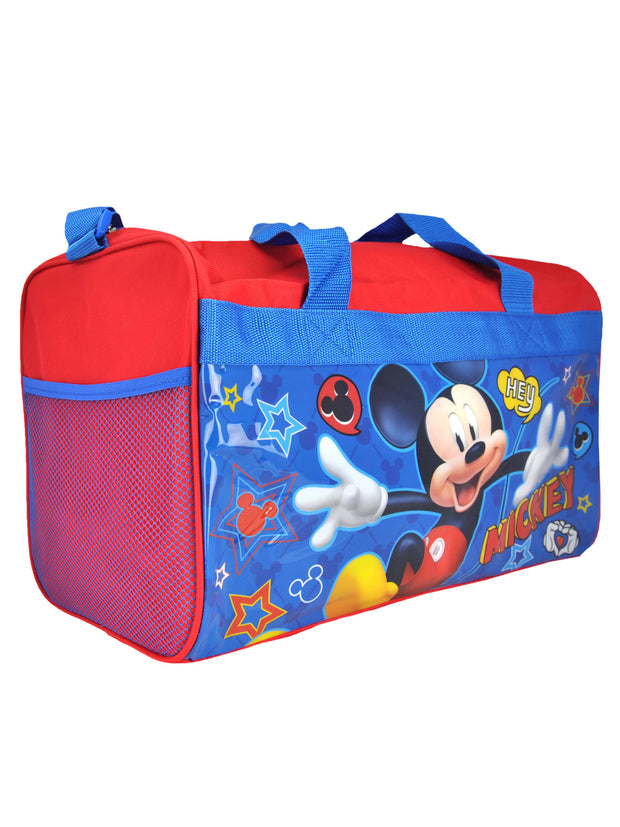 "Disney Mickey Mouse Travel Duffel Bag 17"" w/ PVC Luggage Tag Mickey Costume"