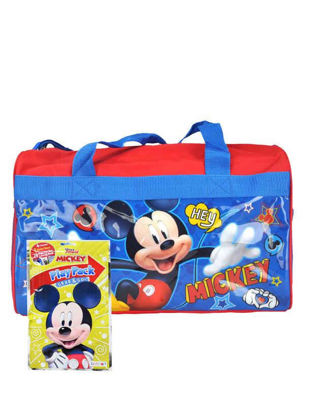 "Boys Mickey Mouse 17"" Duffel Bag w/ Disney Kids Grab & Go Play Pack Stickers"