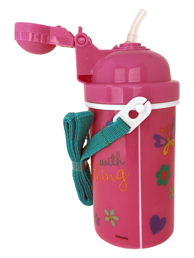 Minnie Mouse Canteen Water Bottle 12oz Popup Lid & Shoulder Strap