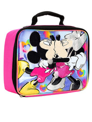 Girls Minnie and Mickey Mouse Hugging Insulated Lunch Bag Pink