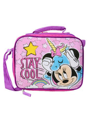 Girls Minnie Mouse Unicorn Insulated Lunch Bag Strap w/ 2-Pc Food Container Set