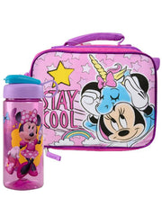 Girls Minnie Mouse Insulated Lunch Bag Unicorm w/ Disney 16.5 oz Water Bottle