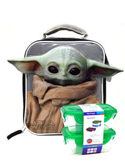 Star Wars Insulated Lunch Bag Baby Yoda Ears Child w/ 2 Pk Food Container Set