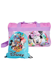 "Minnie Mouse 17"" Travel Duffel Bag w/ Mickey Mouse 15"" Drawstring Sling Bag Set"