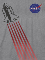 Boys Kids NASA T-Shirt Take Off Spaceship Short Sleeve Tee Gray (Size 3 Only)