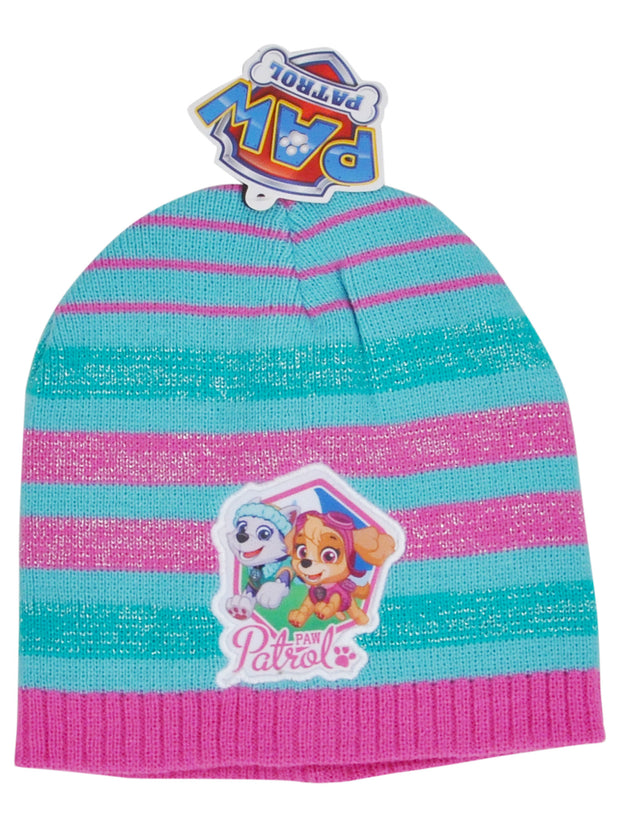 Girls Paw Patrol Knit Cuffed Pink & Blue Beanie Hat with Skye Everest
