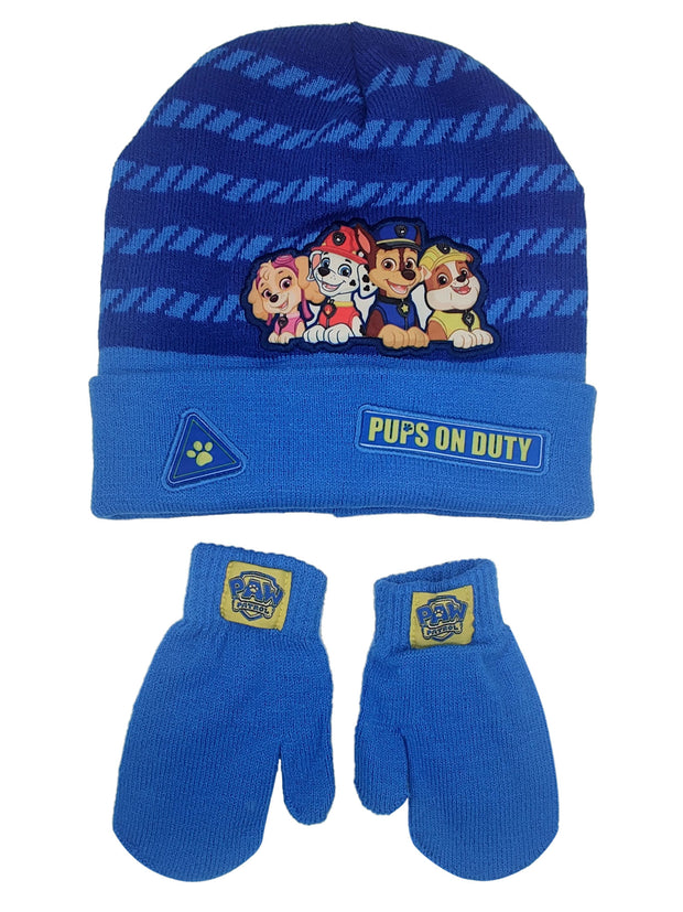 Paw Patrol Pups On Duty Chase Boys Toddler Beanie Hat & Mittens 2-Piece Set