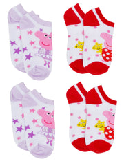 Girls Peppa Pig  Ankle Socks Size 6-8 (4-PACK)
