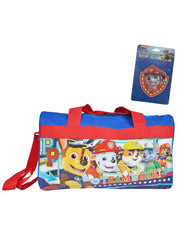 Kids Paw Patrol Duffel Bag and Adhesive Patch 2-Piece Carry-On Travel Set