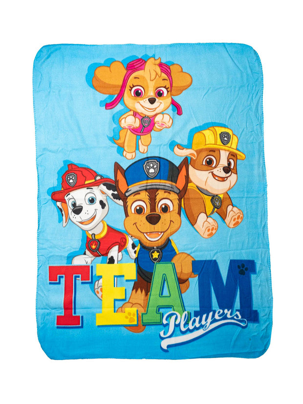 "Paw Patrol Chase Throw Blanket Team Players 45"" x 60"" w/ Drawstring Sling Bag"