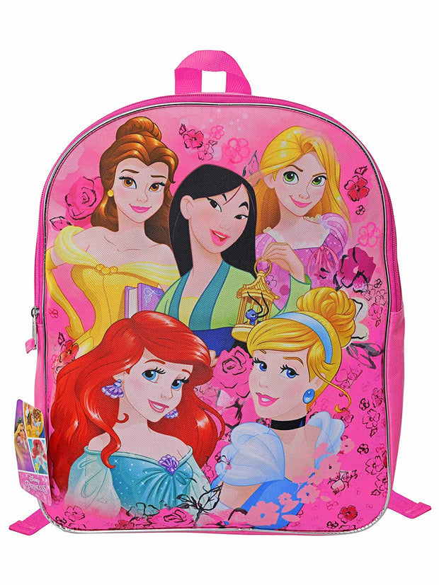 "Disney Princesses Backpack 15"" Ariel, Cinderella Rapunzel Belle Mulan"