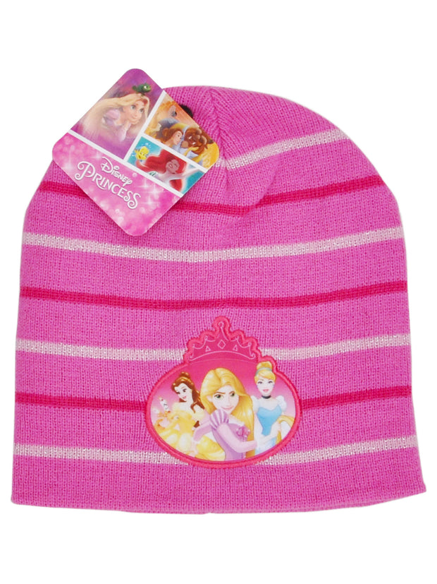 Girls Disney Princesses Knit Cuffed Beanie Hat Belle Cinderella Rapunzel
