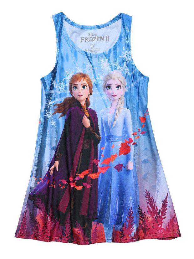 Disney Girls Frozen 2 Anna & Elsa Tank Dress Sublimation Fall Leaves