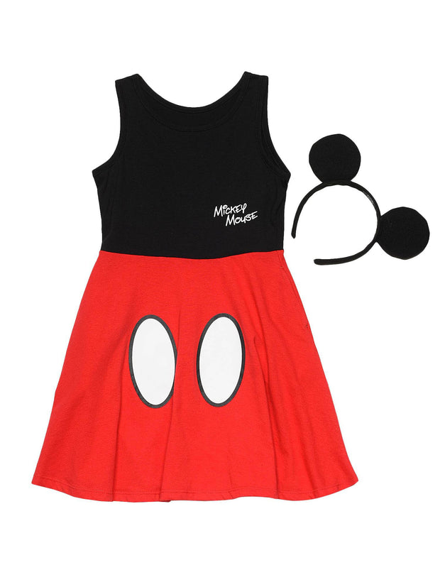 Mickey Mouse Girls Halloween Costume Dress with Ears Headband 2-Piece Set