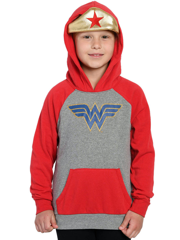 Girls Wonder Woman Hoodie Sweatshirt Costume Gold Tiara Grey Red