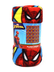 "Marvel Spider-Man Fleece Throw Blanket 45"" x 60"" Web Slinging All-Over Blue Red"