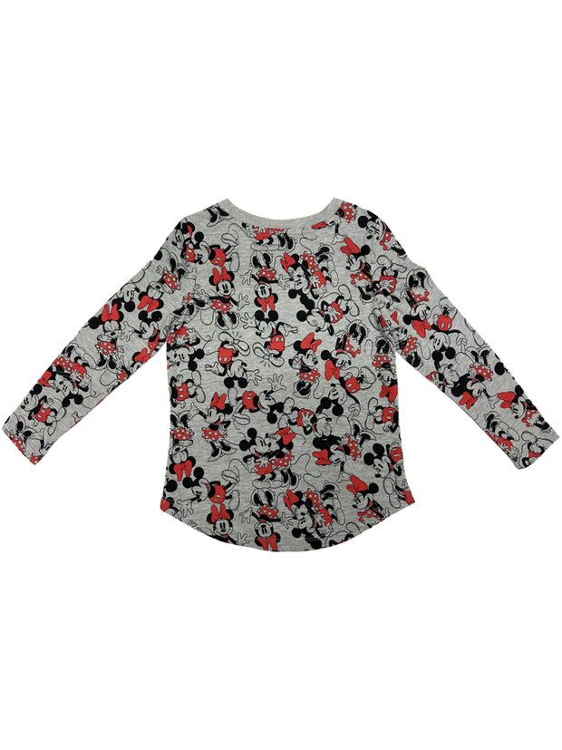 Girls Disney Minnie Mickey Mouse Long Sleeve T-Shirt All-Over Print Gray