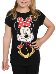 Disney Girls Minnie Mouse Graphic T-Shirt Front & Back Design Black Size XL