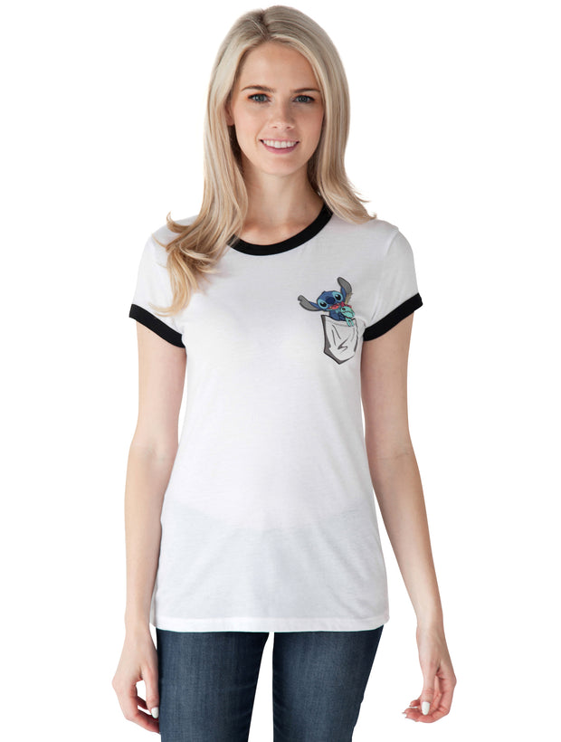 Stitch Pocket Ringer Juniors T-Shirt