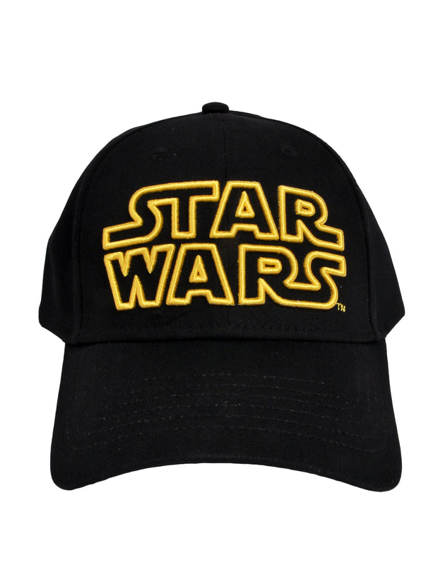 Adult Star Wars Logo Baseball Hat Cap Black Yellow Logo