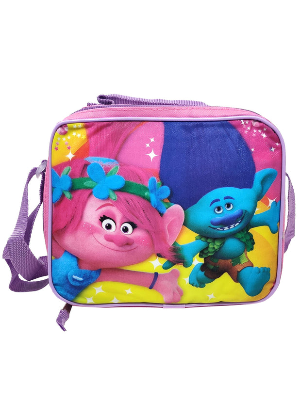 "Girls Trolls Small 11"" Backpack Branch Poppy & Insulated Lunch Bag w/ Strap"
