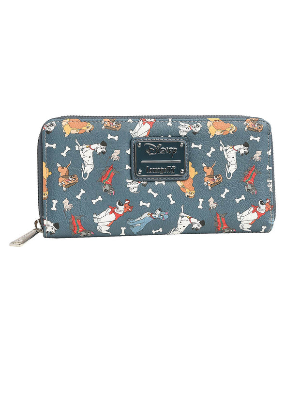 Loungefly x Disney Women's Zip Around Wallet Dogs 101 Dalmatians Lady & Tramp