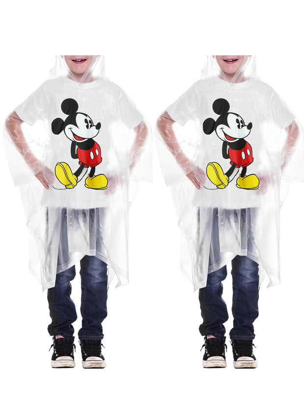 Disney Kids Boys Mickey Mouse Rain Poncho Clear Water Resistant 2-Pack