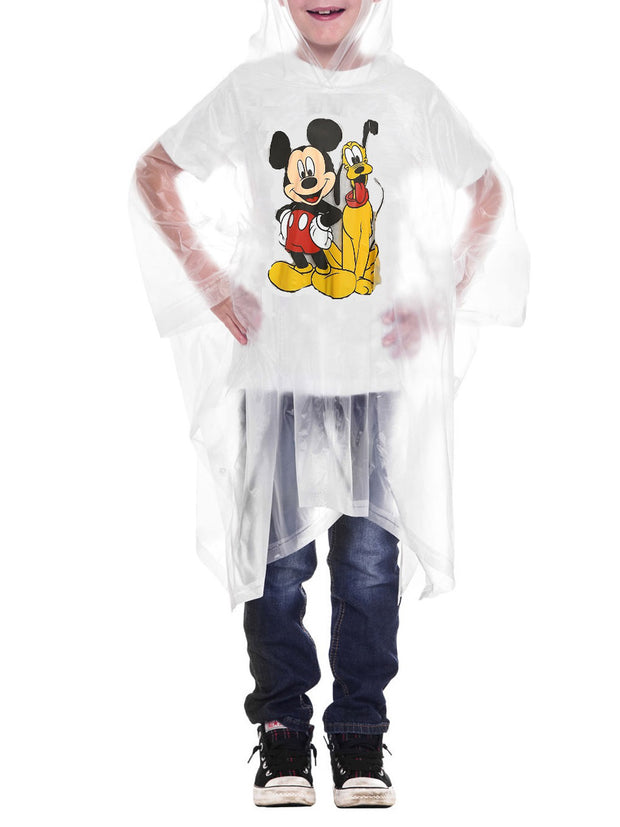 Disney Youth Mickey Mouse & Pluto Kids Rain Poncho Hooded Water Resistant