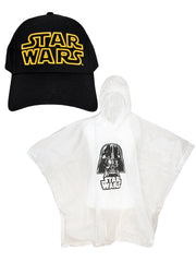 Boys Star Wars Yellow Logo Black Baseball Hat & Darth Vader Poncho 2-Piece Set