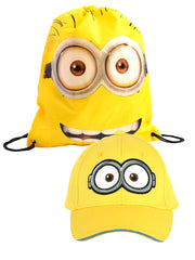 "Minons Youth Kids Baseball Hat Goggles w/ Drawstring Sling Bag 15"" Yellow"