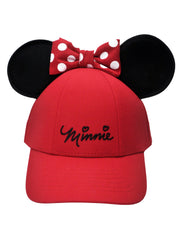 Girls Minnie Mouse Baseball Hat with Ears Red