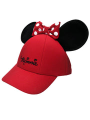 Women's Adult Minnie Mouse Baseball Hat w/ Ears Red Bow Cap
