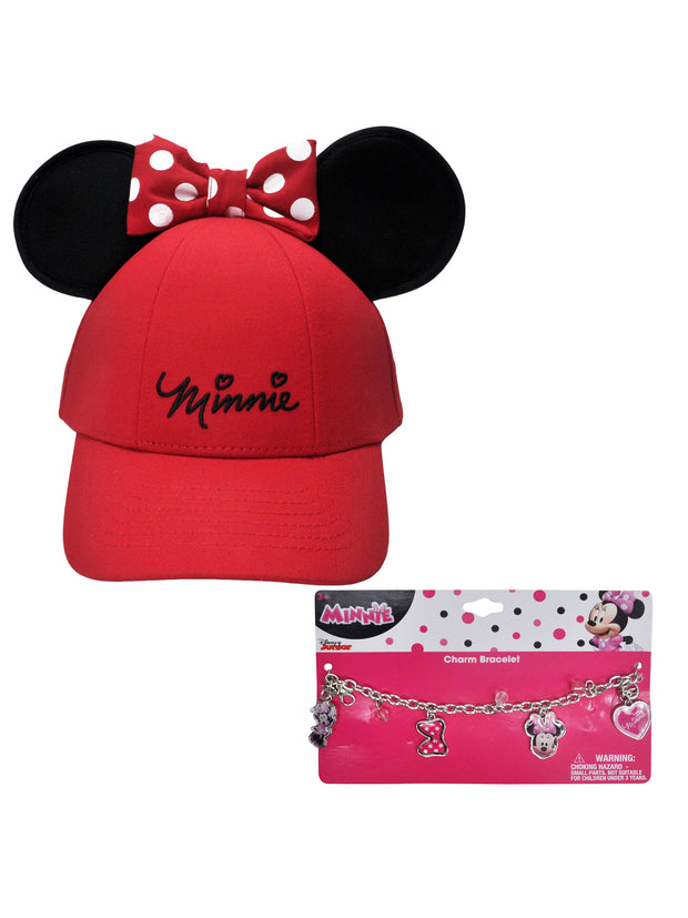 Girls Minnie Mouse Red Hat with Ears & Charm Bracelet