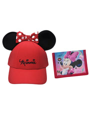 Girls Red Minnie Mouse Ears Hat with Minnie Wallet 2Pcs