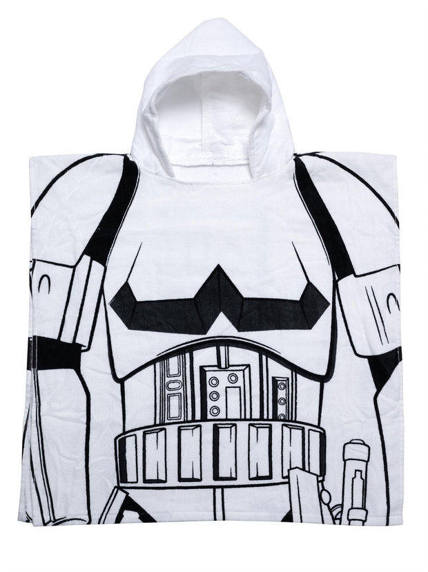 Kids Star Wars Storm Trooper Hooded Beach Towel Poncho Costume White