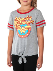 Girls Wonder Woman Front Tie Athletic T-Shirt Gray