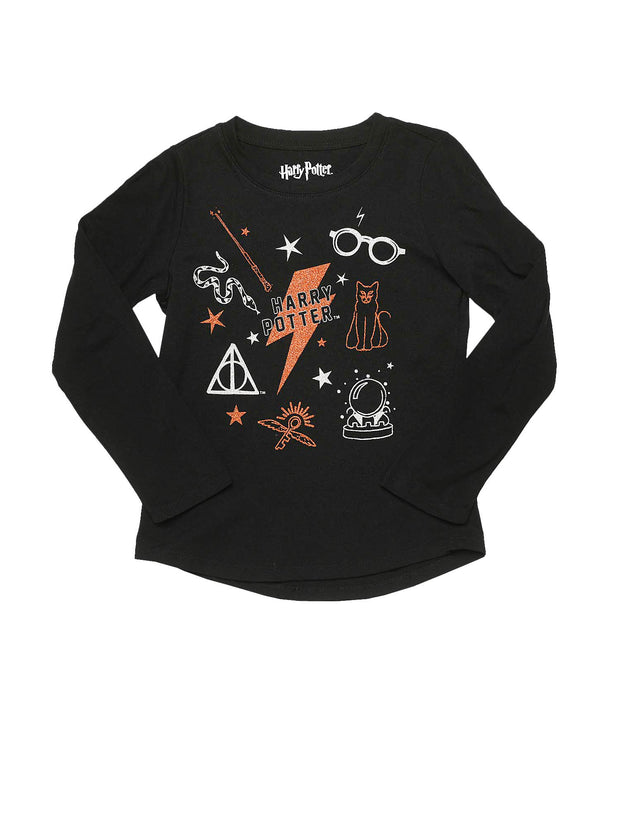 Girls Harry Potter Icons Long Sleeve T-Shirt Glitter Snake Glasses Cat Wand Black